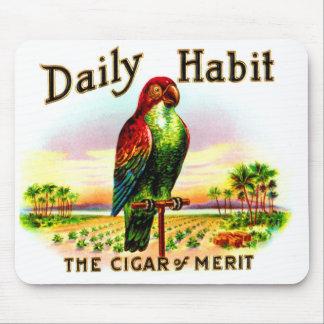Vintage Kitsch Cigar Box Parrot Daily Habit Label Mousepad