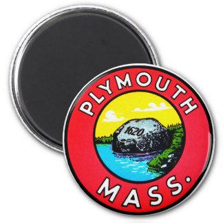 Vintage Kitsch Decal Plymouth Mass. Massachusetts Refrigerator Magnet