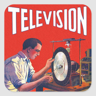 Vintage Kitsch Early TelevisionTechnology TV Set Square Sticker