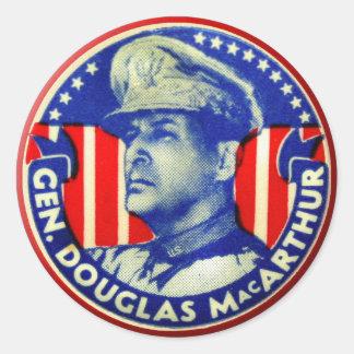 Vintage Kitsch General Douglas MacArthur Button Round Stickers