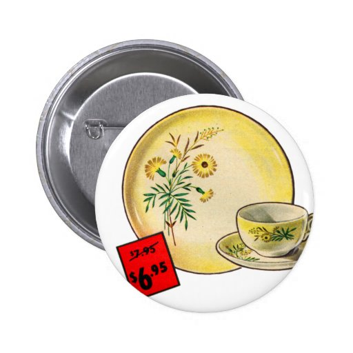 Vintage Kitsch Graphics Dishes Dinnerware Ad Pinback Button
