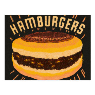 Vintage Kitsch Hamburgers Cheeseburger Matchbook Postcard