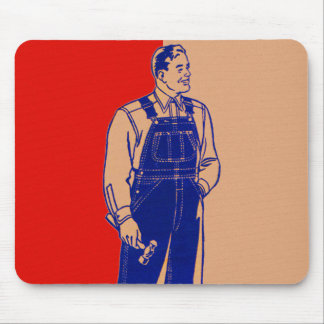 Vintage Kitsch Handyman in Overalls With Hammer Mouse Pad