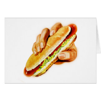 Vintage Kitsch Hot Dog with Relish Greeting Card