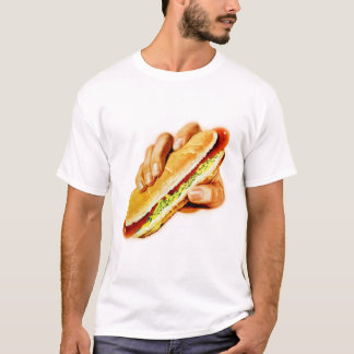 Vintage Kitsch Hot Dog with Relish T-Shirt