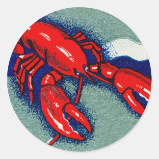 Vintage Kitsch Lobster Lobsters Matchbook Art Classic Round Sticker