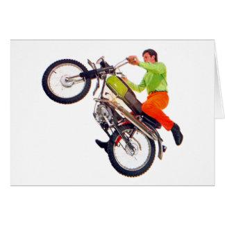 Vintage Kitsch Motor Bike Motorcycle Wheelie Greeting Card