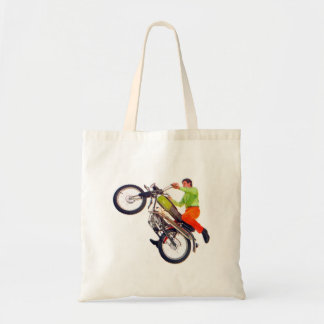 Vintage Kitsch Motor Bike Motorcycle Wheelie Budget Tote Bag