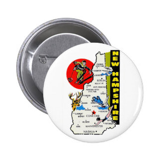 Vintage Kitsch New Hampshire State Travel Decal Pinback Button