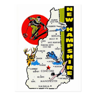 Vintage Kitsch New Hampshire State Travel Decal Postcards