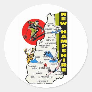 Vintage Kitsch New Hampshire State Travel Decal Round Sticker