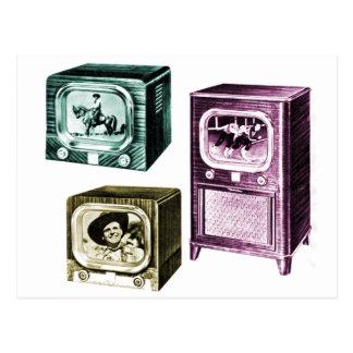 Vintage Kitsch Old B&W Television TV Sets Postcard