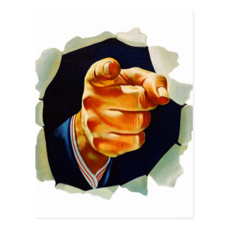 Vintage Kitsch Pointing Finger I Want You Post Card