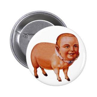 Vintage Kitsch Pork Pig The Pig Boy Circus Freak 6 Cm Round Badge