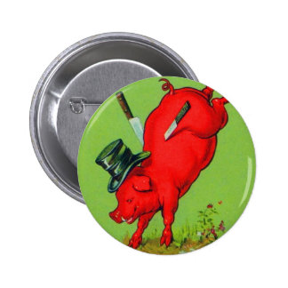 Vintage Kitsch Pork Stuck Pig With Knives Ad Button