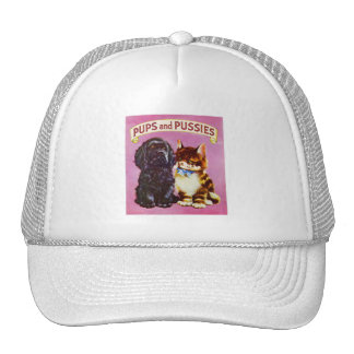Vintage Kitsch Pups and Pussies Cat Dog Kitten Mesh Hat