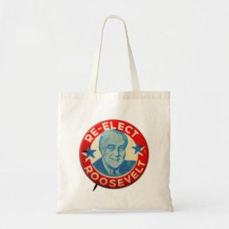 Vintage Kitsch Re-Elect Roosevelt Button Art FDR Canvas Bag