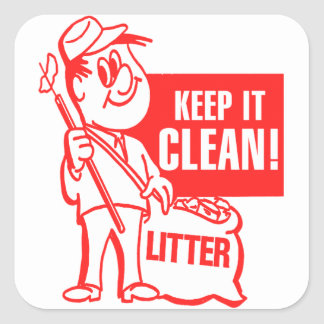 Vintage Kitsch Recycling Keep It Clean Litter Guy Square Sticker