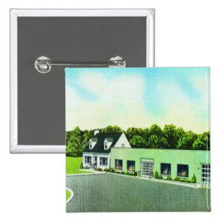 Vintage Kitsch Retro Postcard The Green Building Pinback Button