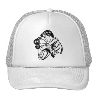 Vintage Kitsch Romance Young Lovers Embrace Mesh Hats