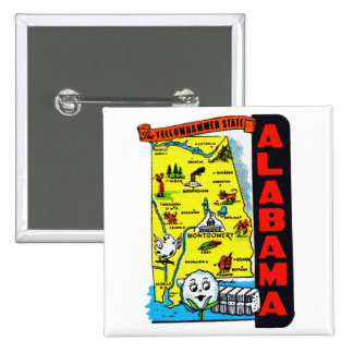 Vintage Kitsch State of Alabama Travel Decal Buttons