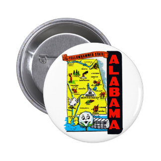Vintage Kitsch State of Alabama Travel Decal Button
