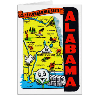 Vintage Kitsch State of Alabama Travel Decal Greeting Cards