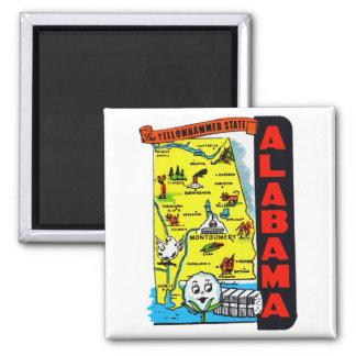 Vintage Kitsch State of Alabama Travel Decal Refrigerator Magnet
