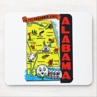 Vintage Kitsch State of Alabama Travel Decal Mouse Pads
