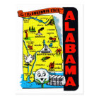 Vintage Kitsch State of Alabama Travel Decal Postcard