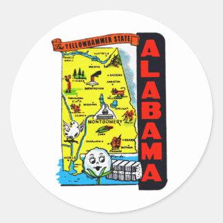 Vintage Kitsch State of Alabama Travel Decal Round Stickers