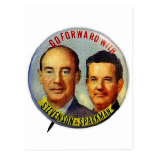 Vintage Kitsch Stevenson Sparkman Political Button Postcard