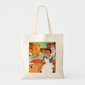 Vintage Kitsch Suburban Housewife Cooking Kitchen Tote Bag