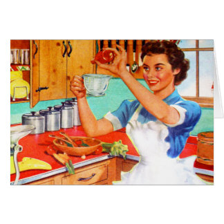 Vintage Kitsch Suburban Housewife Cooking Kitchen Cards