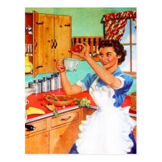 Vintage Kitsch Suburban Housewife Cooking Kitchen Post Card