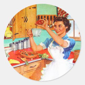 Vintage Kitsch Suburban Housewife Cooking Kitchen Round Sticker