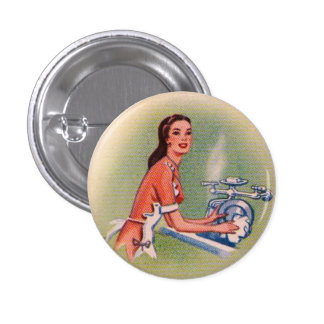 Vintage Kitsch Suburbs Housewife Doing Dishes Buttons