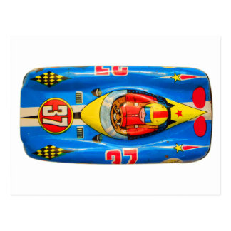 Vintage Kitsch Tin Toy Race Car Made in Japan Postcard
