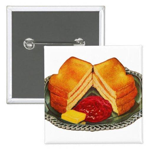 Vintage Kitsch Toast, Butter and Jam Advertisement Pinback Button
