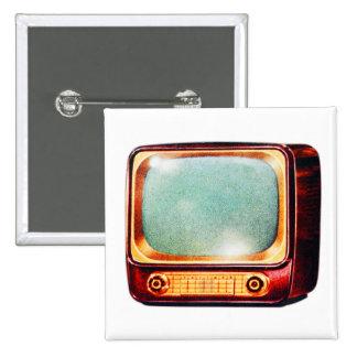 Vintage Kitsch TV Old Television Set 15 Cm Square Badge