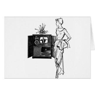 Vintage Kitsch TV Old Television Set illustration Greeting Card