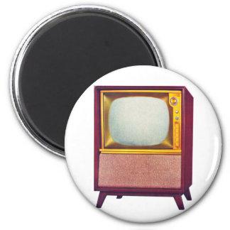 Vintage Kitsch TV Old Television Set 6 Cm Round Magnet