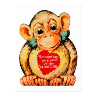 Vintage Kitsch Valentine Monkey Ape Gorillia Postcard