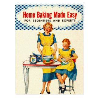 Vintage Kitsch Woman Baking Home Baking Made Easy Postcard