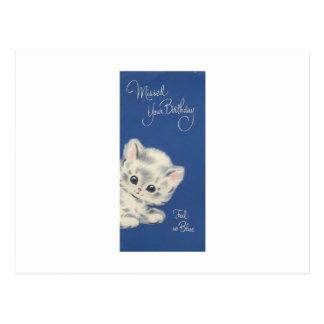 Vintage Kitten Belated Birthday Card