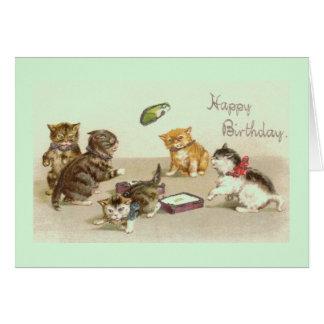 Vintage Kitten Birthday Greeting Card
