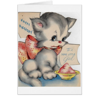 Vintage Kitten Dear Little Girl Birthday Card