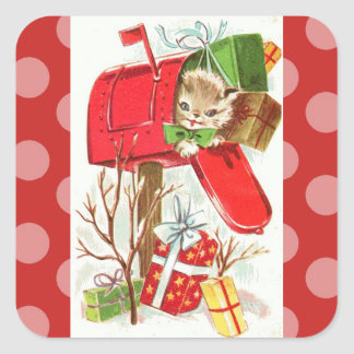 Vintage Kitten in Mailbox Christmas Sticker