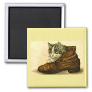 Vintage Kitten in Shoe Magnet