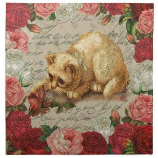 Vintage kitten napkin